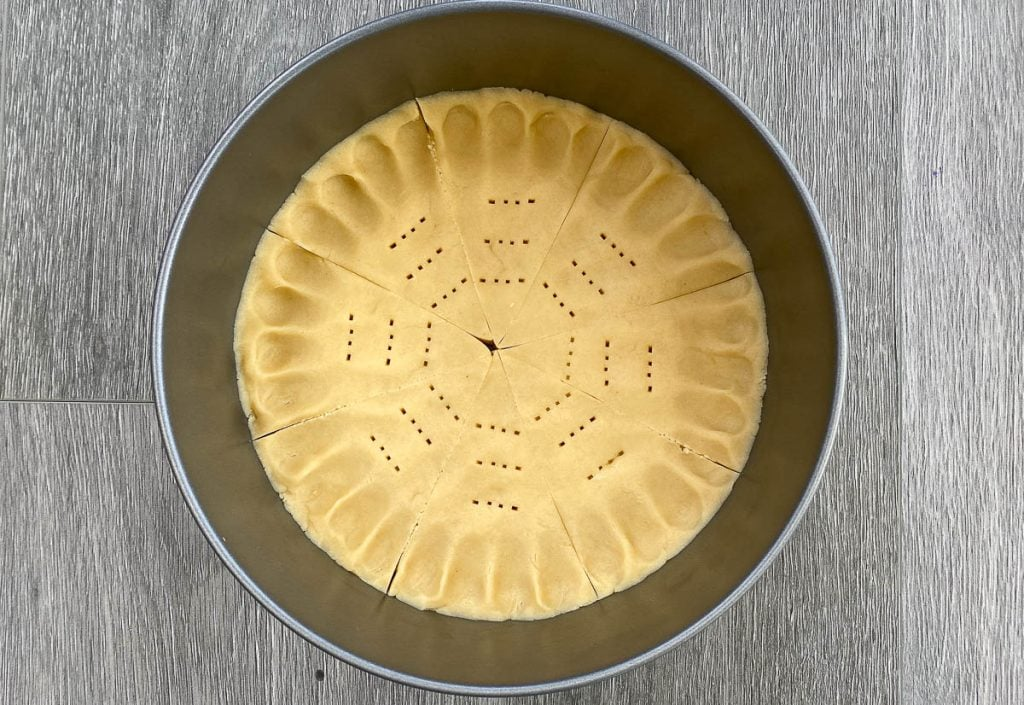 Petticoat Shortbread in a tin before cooking