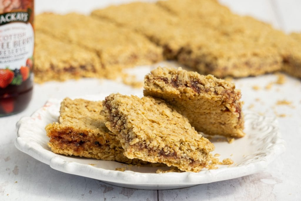 Jam Flapjack Recipe on a plate with MacKays Jam