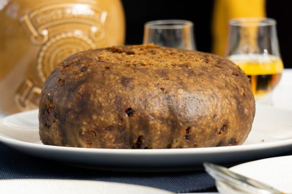 A clootie dumpling on a plate