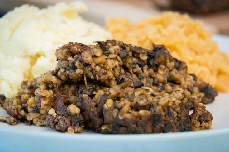 Vegetarian Haggis with neeps and tatties on a plate