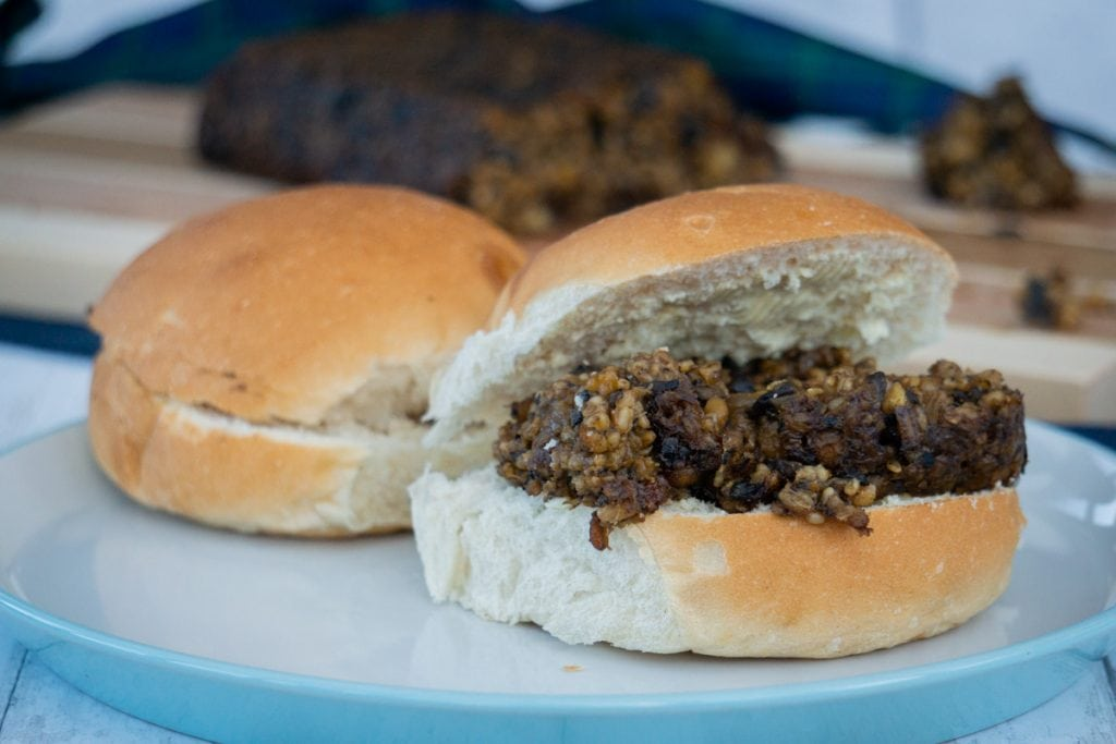 Vegetarian Haggis in a roll