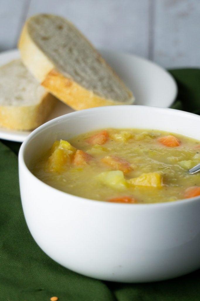 Bowl of Scottish Lentil Soup with bread