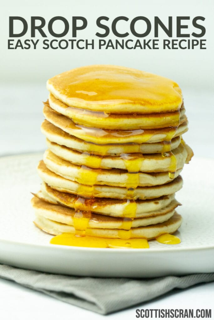 Stack of Drop Scones or Scotch Pancakes with Syrup