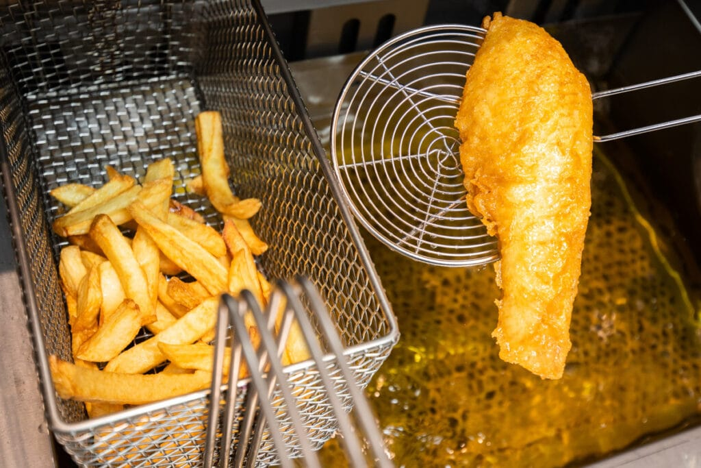 The Bay Fish and Chips Scotland - fish and chips in a fryer
