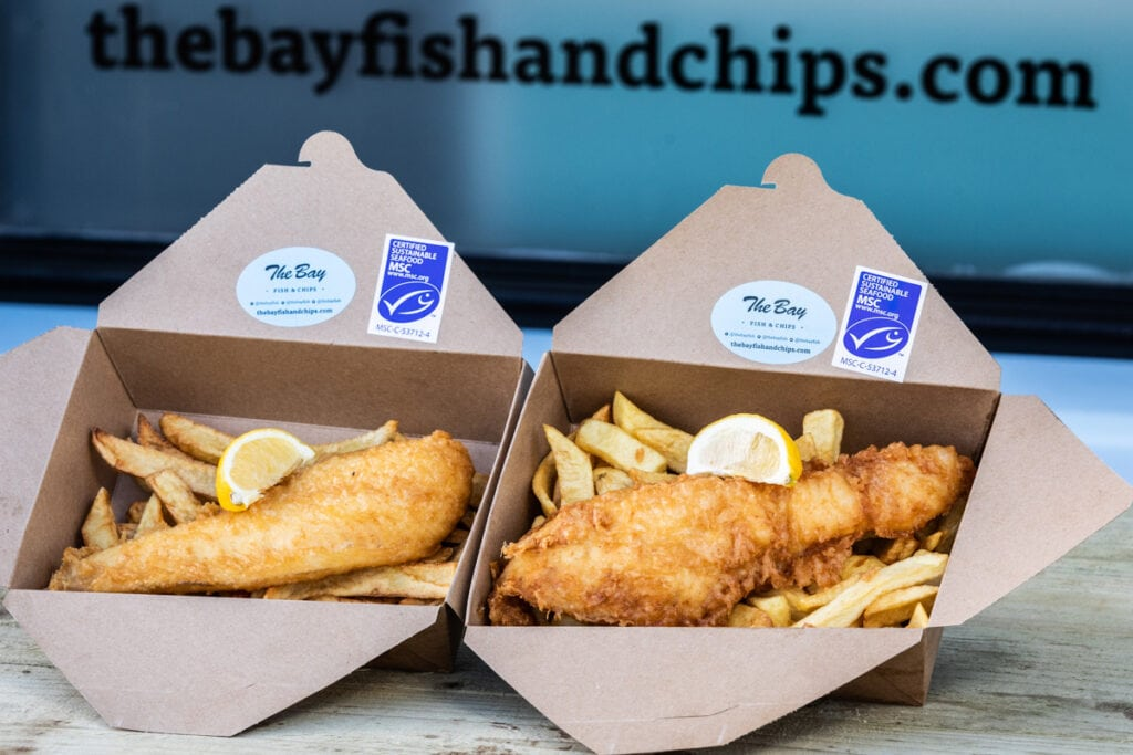 The Bay Fish and Chips boxes